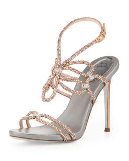Crystal High Heel Ankle Wrap Sandal, Rose Gold/Silver   Rene Caovilla   Rose
