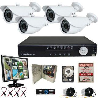 Evertech 4CH H.264 Video Compression format CCTV Surveillance Security DVR Camera System with 4 Sony Super HAD White Color 700TVL CCD Bullet Cameras 2TB HDD LCD Monitor : Camera & Photo