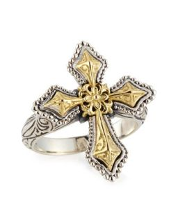 Engraved Sterling Silver & Gold Cross Ring   Konstantino   Silver gold (7)