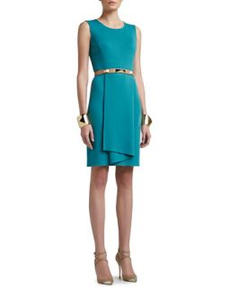 Womens Milano Knit Sleeveless Dress with Origami Ruffle   St. John Collection
