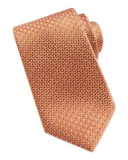 Mens Mix Square Pattern Silk Tie, Orange   Brioni   Orange