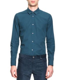 Mens Poplin Button Down Shirt, Teal   Maison Martin Margiela   Teal (50)