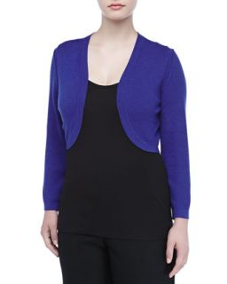 Womens Cropped Cashmere Blend Bolero, Royal Blue   Carolina Herrera   Royal