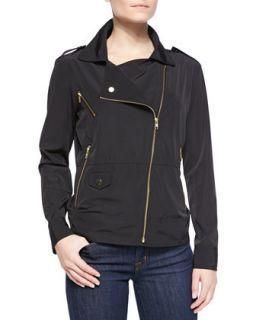 Womens Zip Front Moto Style Anorak Jacket, Black   Ali Ro   Black (2)