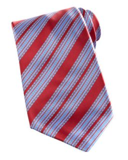 Mens Wide Stripe Silk Tie, Red/Blue   Stefano Ricci   Red/Blue