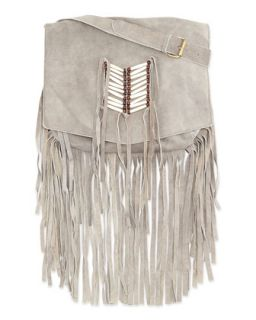 Maria Beaded & Fringed Crossbody Bag, Gray   Raj
