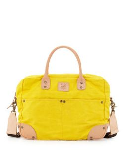 Mens Cotton Canvas Flight Bag, Yellow   Will Leather Goods   Yellow