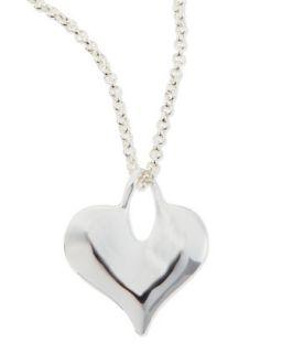 Silver Plate Flat Heart Necklace   Robert Lee Morris   Silver