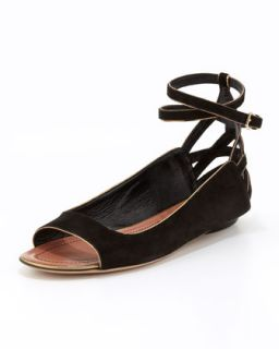 Hanne Strappy Peep Toe Sandal, Black   Derek Lam   Black (37.0B/7.0B)