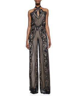 Womens Amadora Halter Neck Lace Jumpsuit, Black   Alexis   Black lace (MEDIUM)