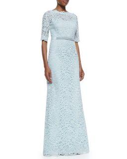 Womens Half Sleeve Lace Overlay Gown   Teri Jon   Powder blue (8)