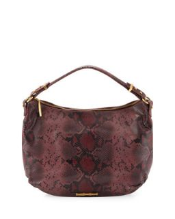 Python Pattern Leather Hobo Bag, Rose Python   Elaine Turner