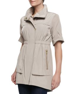 Womens Short Sleeve Covered Placket Anorak Jacket, Putty   Ali Ro   Putty (0)