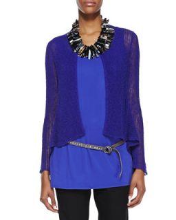 Linen Blend Flutter Cardigan, Blue Violet, Womens   Eileen Fisher   Blue