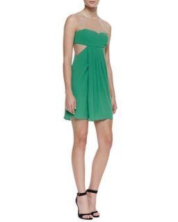 Womens Aicha Crepe/Mesh Party Dress   BCBGMAXAZRIA   Kelly green (6)