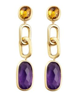 Murano 18k Link Drop Earrings with Amethyst and Citrine   Marco Bicego   Purple