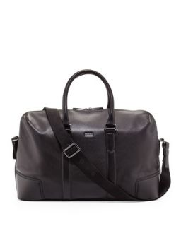 Mens Macro Leather Weekender Bag, Black   Boss Hugo Boss   Black