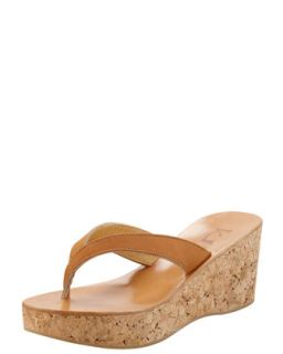 Diorite Cork Wedge Thong, Natural   K. Jacques   Natural (35.0B/5.0B)