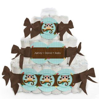 Owl   Look Whooo's Having A Baby   3 Tier Personalized Square   Baby Shower Diaper Cake: Health & Personal Care
