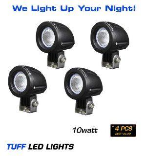"Tuff LED Lights 4 X 2"" Inch Round 10 Watt TUFF CREE LED Work Light 950 Lumens   Atv, Utv, Off Road Jeep 4x4 Polaris Razor, Yamaha Rhino, Can Am SUV, Truck, Trailer HID,INCLUDES> FREE UNIVERSAL WIREHARNESS WITH INLINE FUSE, RELAY, AND TUFF LED PILOT"
