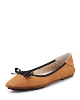 Inslee Bow Faux Shearling Slipper, Tan/Black   Jacques Levine   Tan/Black (36.