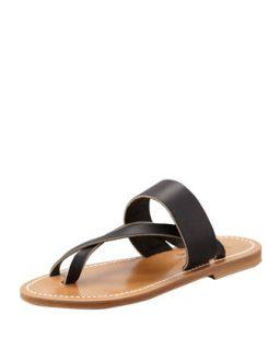 Nehru Crisscross Toe Ring Flat Sandal, Black   K. Jacques   Black (35.0B/5.0B)