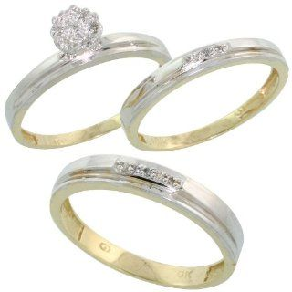 10k Yellow Gold Diamond Trio Engagement Wedding Ring Set for Him 4mm and Her 3 mm 3 piece 0.10 cttw Brilliant Cut, ladies sizes 5   10, mens sizes 8   14: Jewelry