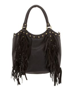 Nikki Golden Studded Fringed Tote, Black   Raj