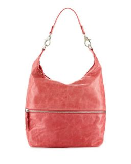 Jude Glossy Tumbled Leather Hobo Bag, Ruby Red