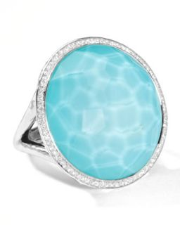 Stella Large Lollipop Ring in Turquoise Doublet with Diamonds, 0.32   Ippolita