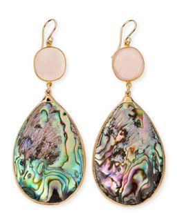 Abalone Teardrop Earrings in 24k Gold Foil   Devon Leigh   Rose (24K )