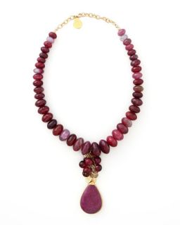 Fuchsia Agate & Ruby Quartz Necklace   Devon Leigh   Fuchsia