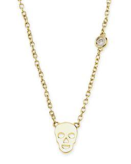White Gold Skull Pendant Bezel Diamond Necklace   SHY by Sydney Evan   Gold