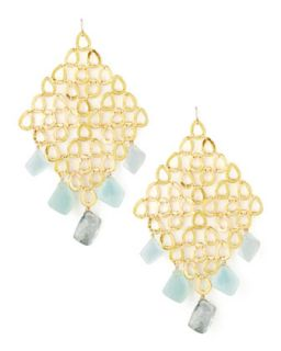 Gold Grid Chalcedony & Quartz Earrings   Devon Leigh   Blue