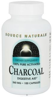 Source Naturals   100% Pure Activated Charcoal 260 mg.   100 Capsules