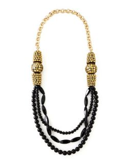 Black Onyx Multi Strand Necklace, 40   Devon Leigh   Black