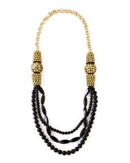 Black Onyx Multi Strand Necklace, 40   Devon Leigh   Black