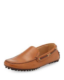 Mens Plain Vamp Driving Shoe, Dark Brown   Car Shoe   (9 1/2)
