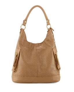 Dylan Perforated Leather Hobo Bag, Nougat   Linea Pelle
