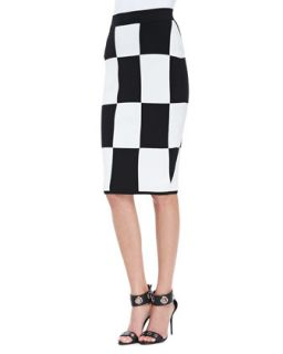 Womens Checkerboard Pencil Skirt   10 Crosby Derek Lam   Black (SMALL)