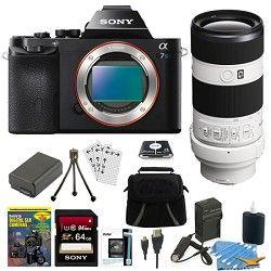 Sony ILCE 7S/B a7S Full Frame Camera + SEL 70 200mm F4 G OIS Lens Accessory Bund