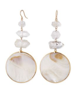 Mother of Pearl Circle Drop Earrings   Devon Leigh   White