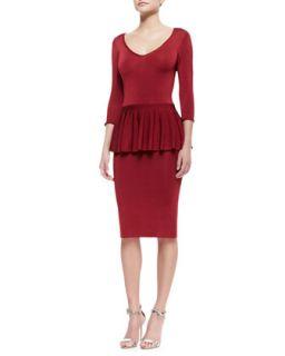 Womens Wanda 3/4 Sleeve Peplum Dress   ZAC Zac Posen   Crimson (MEDIUM)
