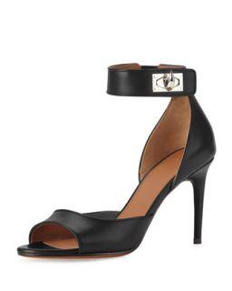 Leather Shark Lock Naked Sandal, Black   Givenchy   Black (35.5B/5.5B)