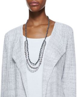 3 Strand Bindu Silk Beaded Necklace, Pewter   Eileen Fisher   Pewter (ONE SIZE)