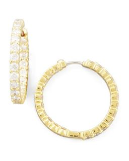 35mm Yellow Gold Diamond Hoop Earrings, 3.43ct   Roberto Coin   Yellow (35mm ,