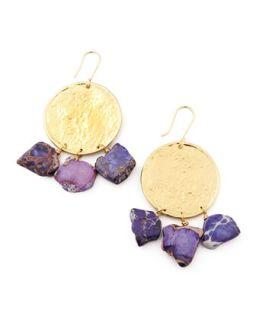 22k Yellow Gold Plate & Violet Jasper Drop Earrings   Nest   Violet