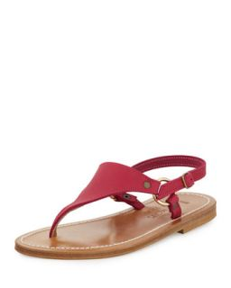 Triton Leather Thong Sandal, Dark Pink   K. Jacques   Dark pink (35.0B/5.0B)