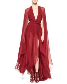 Womens Belted Paneled Chiffon Evening Gown, Ruby Red   Donna Karan   Ruby (12)