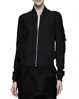 Womens Cropped Flight Bomber Jacket, Black   Rick Owens   Black (46/12)